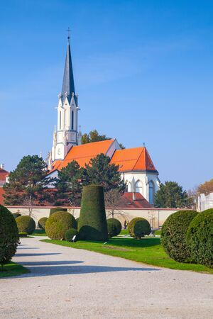 parish: Catholic parish church Maria Hietzing in Vienna, Austria. Vertical photo