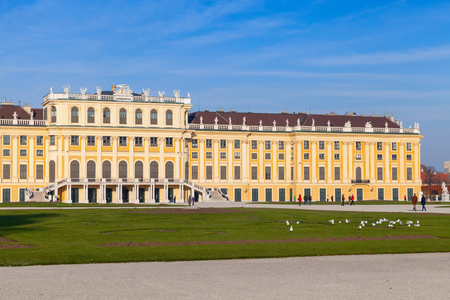 habsburg: Facade of Schonbrunn Palace in Vienna, Austria. Its a former imperial summer residence of successive Habsburg monarchs