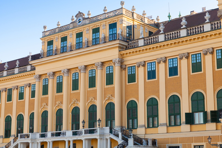 schonbrunn palace: Schonbrunn Palace in Vienna, Austria. Its a former imperial summer residence of successive Habsburg monarchs. Facade fragment with main entrance Editorial
