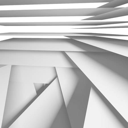 multi layered: Abstract square digital background with white chaotic multi layered stripes, 3d illustration