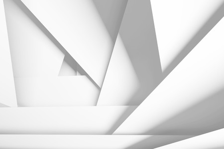 Abstract digital background with white chaotic multi layered planes, 3d illustration