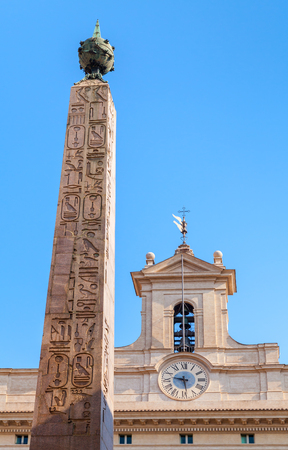 heliopolis: The Obelisk of Montecitorio, also known as Solare. Ancient Egyptian red granite obelisk of Psammetichus II  from Heliopolis. Rome, Italy