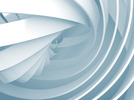 blue circle: Abstract digital background with light blue soft illuminated 3d spiral structures
