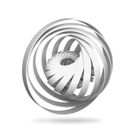 estructura: objeto digital abstracto, estructuras espirales redondas 3d aislados en el fondo blanco
