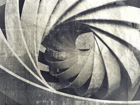 concepto: Resumen digital de fondo con estructura espiral 3d sobre el muro de hormig�n sucio