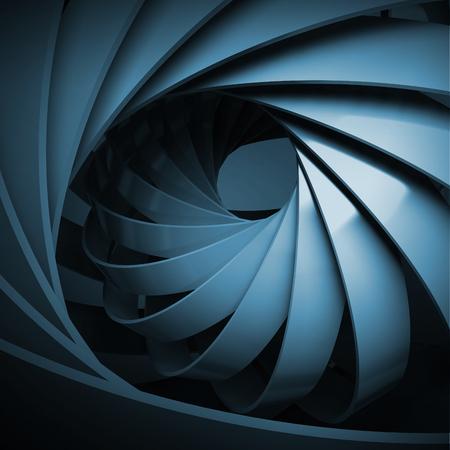 暗いとデジタル背景を抽象的な 3 d スパイラル構造を青 写真素材