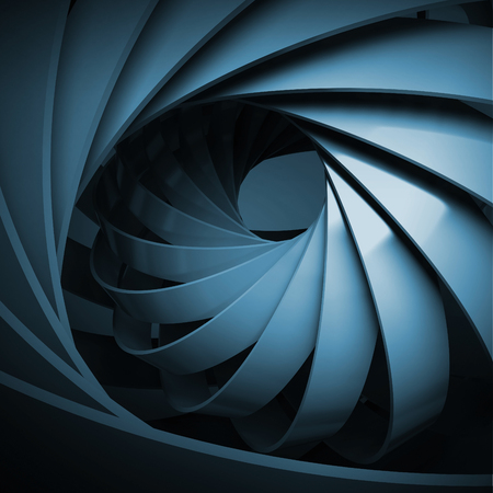 Abstract digital background with dark blue 3d spiral structure