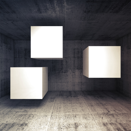 abstract cubes: Abstract dark concrete interior with three white flying cubes as a banners place, 3d illustration background Stock Photo