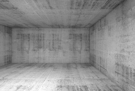 industry concept: Abstract concrete interior of underground showroom, 3d illustration background Stock Photo
