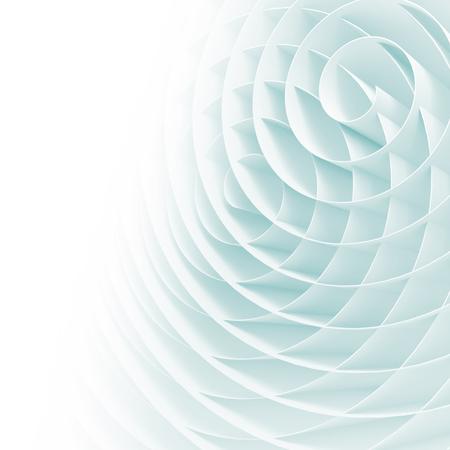 Witte 3d spiralen met zachte lichtblauwe schaduwen, abstracte digitale illustratie, vierkant patroon als achtergrond Stockfoto