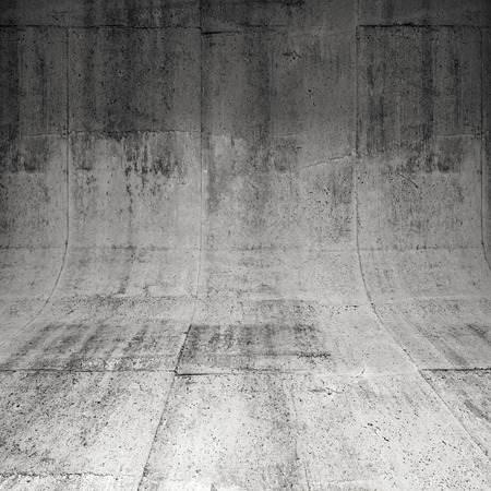 바닥과 벽, 3D 그림 배경 사이의 둥근 가장자리와 추상적 인 사각형 콘크리트 인테리어