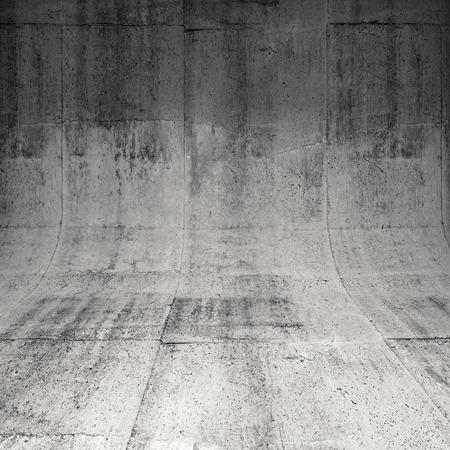 Abstracte vierkante betonnen interieur met afgeronde rand tussen vloer en muur, 3d illustratie achtergrond