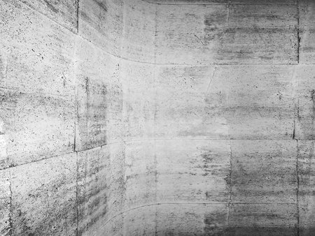 rounding: Abstract concrete background with rounded edge between walls, 3d illustration