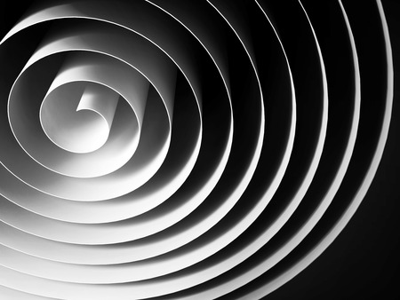 spin: White 3d spiral made of paper tape with dark shadows over black background, abstract digital illustration Stock Photo