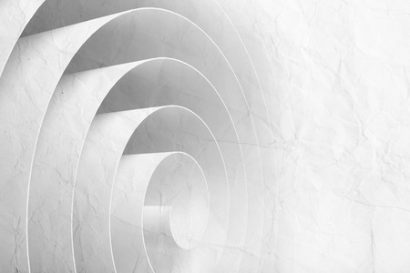 swirl patterns: 3d spiral made of paper tape with material texture, abstract digital illustration, background pattern Stock Photo