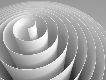 White 3d spiral tape made of paper with soft shadows, abstract digital illustration, background pattern Stock Photo