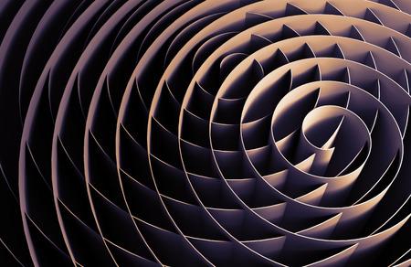 Dark intersected 3d spirals, abstract digital illustration, background pattern