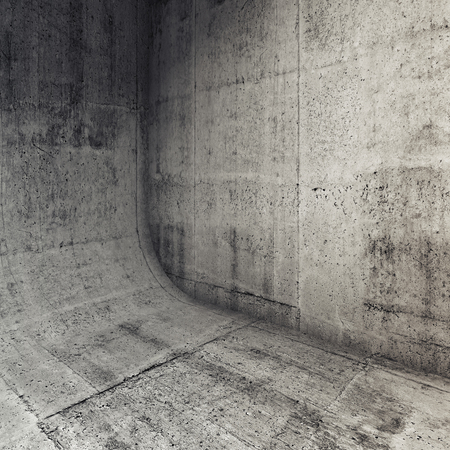 rounding: Abstract concrete interior with rounded edge between floor and wall, 3d illustration, square background Stock Photo