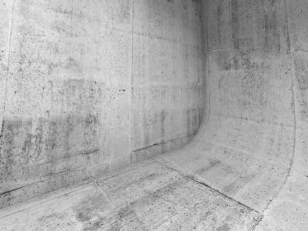rounding: Abstract concrete interior with rounded edge between floor and wall, 3d illustration background