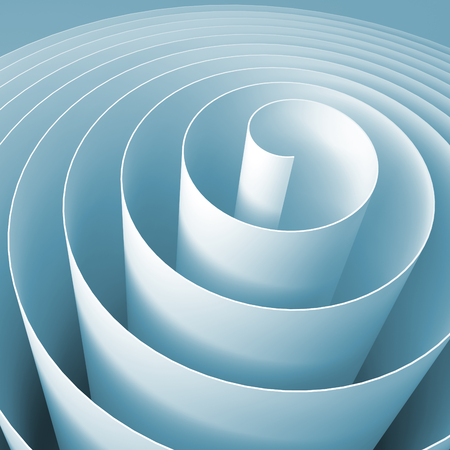 Blue 3d spiral, square abstract digital illustration, background pattern Stock Photo