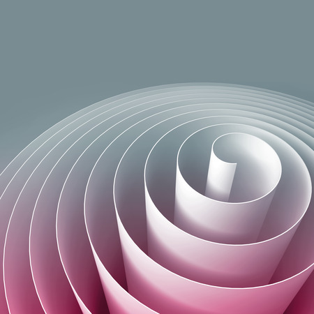 rolled: Colorful 3d spiral, abstract digital illustration, background pattern Stock Photo