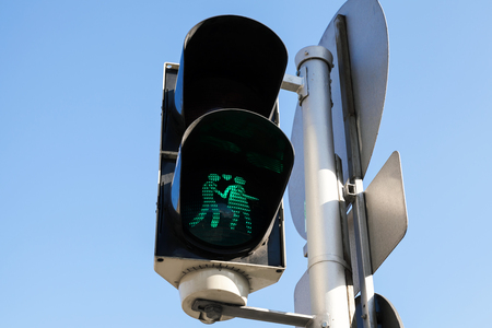traffic light: Pedestrian traffic lights with original green lovers signal, Vienna, Austria