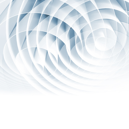 White 3d spirals with light blue shadows, abstract digital illustration, square background pattern