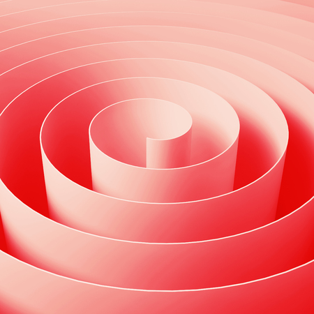 square tape: Red 3d spiral tape, abstract digital illustration, square background pattern