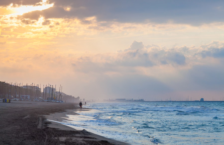 Dramatic colorful coastal landscape, Mediterranean sea coast at sunrise. Calafell, Spain Reklamní fotografie