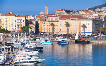 pleasure: Ajaccio port cityscape with moored yachts and pleasure boats , Corsica island, France