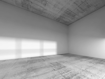 Abstract interior of an empty room with white painted walls, rough concrete floor and ceiling. 3d render illustration Standard-Bild