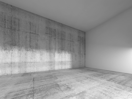 design studio: Abstract empty room interior with white painted wall and ceiling, concrete floor. 3d render illustration Stock Photo