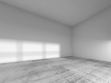 Abstract interior of an empty room with white painted walls and ceiling; concrete floor. 3d render illustration