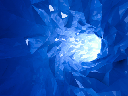 tunnel portals: Abstract shining bright blue crystal digital tunnel background. 3d illustration