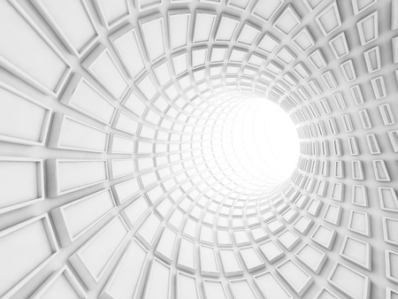 tunnel portals: Turning white tunnel interior with technological extruded tiles. Digital 3d illustration