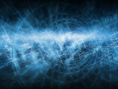 Fondo digital azul oscuro abstracto, concepto de computación en la nube con estructuras caóticas, ilustración 3d