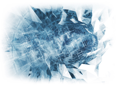 light at the end of the tunnel: Abstract digital background, cloud computing concept with chaotic structures, 3d illustration Stock Photo