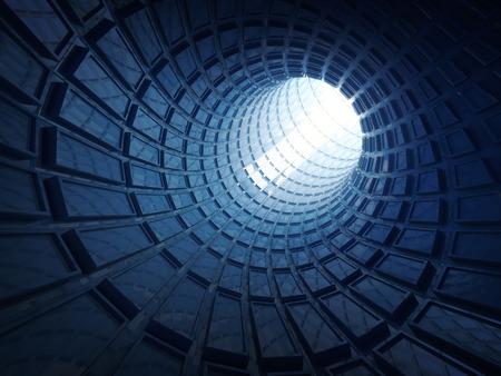 Abstracte glanzende blauwe digitale tunnel achtergrond. 3d illustratie
