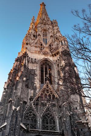 saint stephen cathedral: Spire of St. Stephen Cathedral or Stephansdom in Vienna, Austria. Dark evening natural illumination