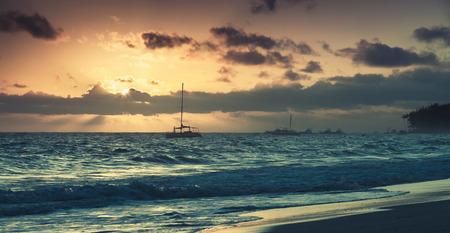 tonal: Sunrise over Atlantic ocean. Dominican republic, Punta Cana resort. Colorful tonal correction photo filter effect