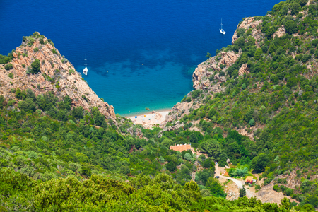capo: Coastal landscape of South Corsica. Small beach on Capo Rosso, Piana region Stock Photo