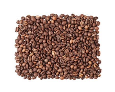 caffee: Rectangle of roasted coffee beans isolated on white background