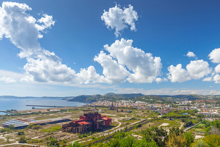 steel works: Abandoned iron and steel works factory on the outskirts of Naples. Bagnoli, ex industrial area Stock Photo
