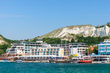 balchik: Summer cityscape of Balchik resort town, Black Sea coast, Varna region, Bulgaria Stock Photo