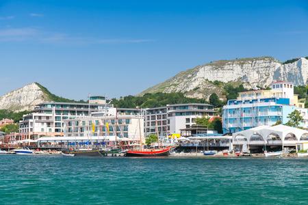 balchik: Cityscape of Balchik resort town in summer. Black Sea coast, Varna region, Bulgaria