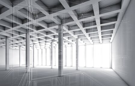 wire frame: Abstract architecture background with perspective view of open space room, 3d illustration with wire frame effect