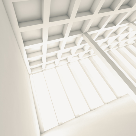 open space: Abstract architecture background, perspective view of an open space room, Square 3d illustration