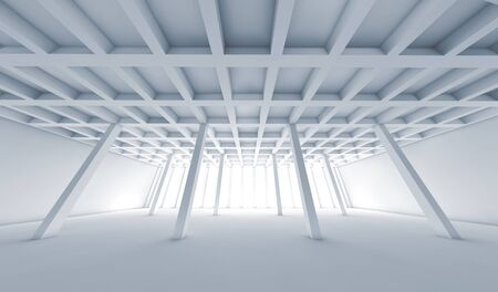 wide angle: Abstract architecture background with perspective view of open space room, Blue toned 3d illustration with wide angle effect