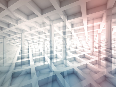 interior cell: Abstract architecture background with intersected cell structures, 3d illustration with colorful tonal filter Stock Photo