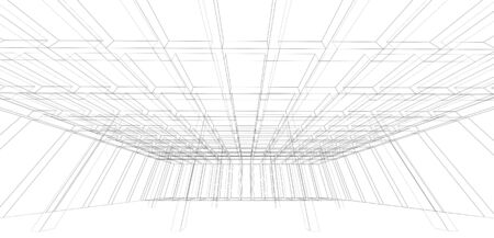 wide angle: Digital wide angle background, empty 3d room interior structure, wire frame lines over white background